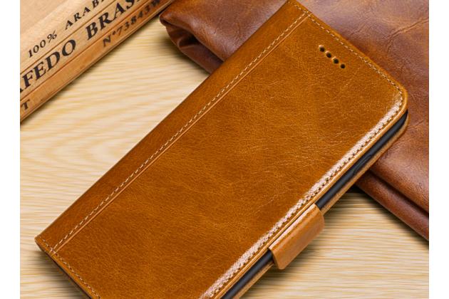 Фирменный премиальный элитный чехол-книжка из качественной импортной кожи с мульти-подставкой и визитницей для iPhone XS светло-коричневый
