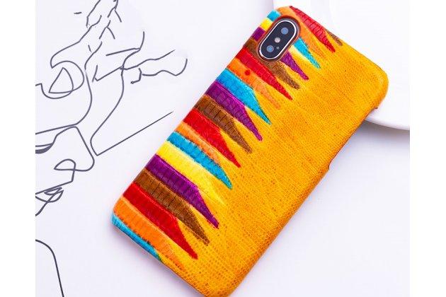 """Фирменная неповторимая экзотическая панель-крышка обтянутая кожей крокодила с фактурным тиснением для iPhone XS тематика """"Тропический Коктейль"""" желтая. Только в нашем магазине. Количество ограничено."""
