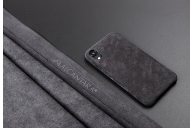 Фирменная оригинальная задняя панель-крышка-накладка из замши для iPhone XS в черном цвете