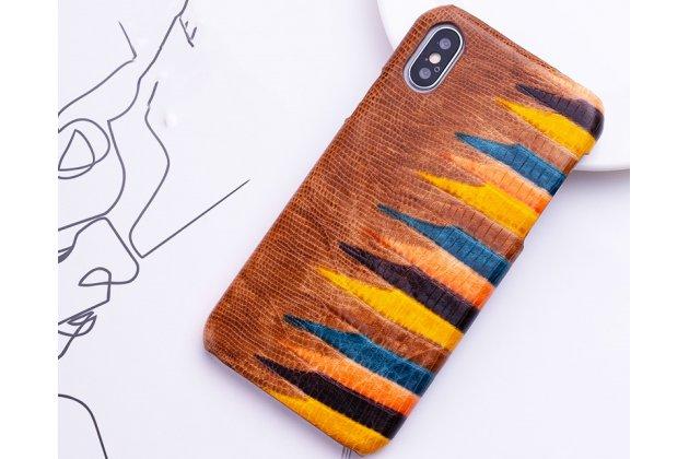 """Фирменная неповторимая экзотическая панель-крышка обтянутая кожей крокодила с фактурным тиснением для iPhone XS тематика """"Тропический Коктейль"""" коричневая. Только в нашем магазине. Количество ограничено."""