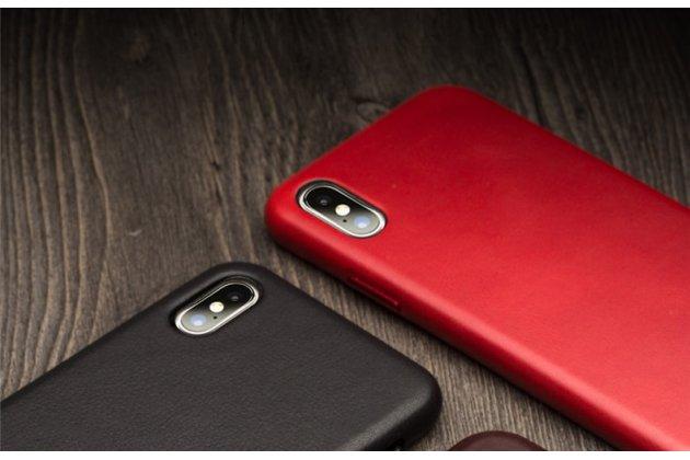Фирменная роскошная задняя панель-крышка обтянутая импортной кожей для iPhone XS черная