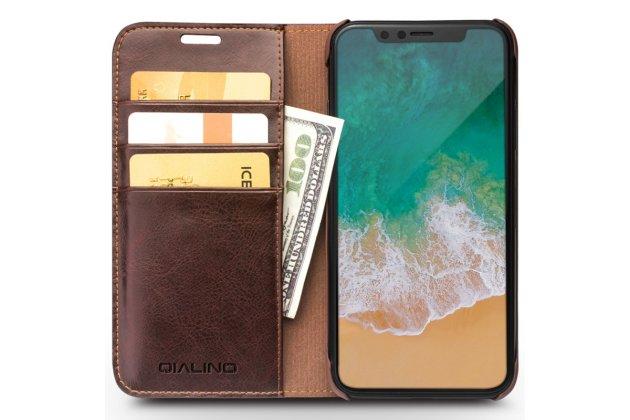 Фирменный премиальный элитный чехол-книжка из качественной импортной кожи с мульти-подставкой и визитницей для iPhone XS  черный