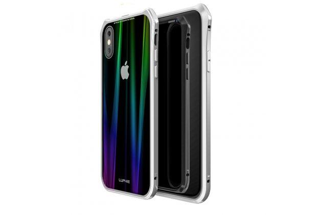 Неубиваемый противоударный ударопрочный фирменный чехол-бампер для iPhone XS с металлическими защитными углами со стеклом задней крышки Gorilla Glass цвет серебристый
