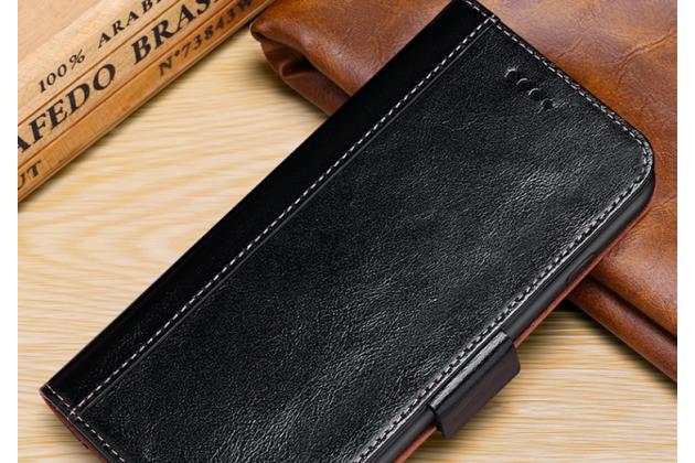 """Фирменный премиальный элитный чехол-книжка из качественной импортной кожи с мульти-подставкой и визитницей для iPhone XS Max  """"Ретро"""" черный"""