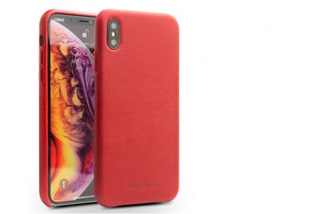 Фирменная премиальная элитная крышка-накладка из тончайшего прочного пластика и качественной импортной кожи  для iPhone XS Max  красная
