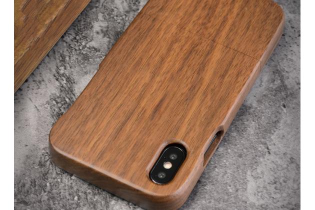 Фирменная оригинальная деревянная из натурального бамбука задняя панель-крышка-накладка для iPhone XS Max темно-коричневая