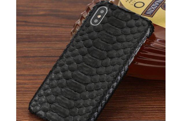 Фирменная элегантная экзотическая задняя панель-крышка с фактурной отделкой натуральной кожи змеи черного цвета для iPhone XS Max. Только в нашем магазине. Количество ограничено.