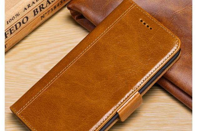 """Фирменный премиальный элитный чехол-книжка из качественной импортной кожи с мульти-подставкой и визитницей для iPhone XS Max """"Ретро"""" светло-коричневый"""