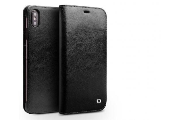 Фирменный премиальный элитный чехол-книжка из качественной импортной кожи с мульти-подставкой и визитницей для iPhone XS Max черный