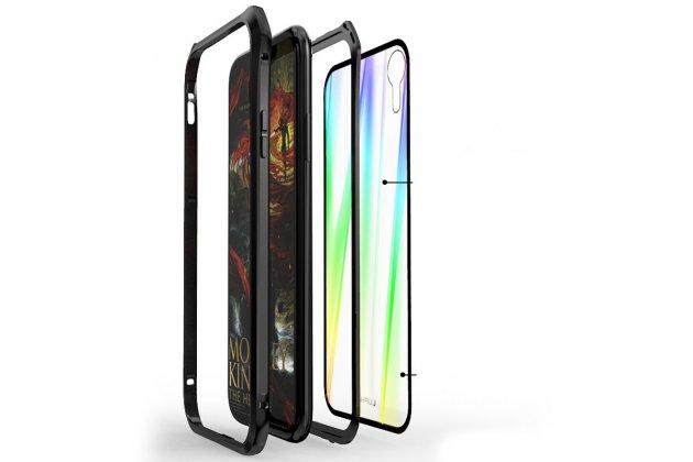 Неубиваемый противоударный ударопрочный фирменный чехол-бампер для iPhone XS Max с металлическими защитными углами со стеклом задней крышки Gorilla Glass цвет серебристый