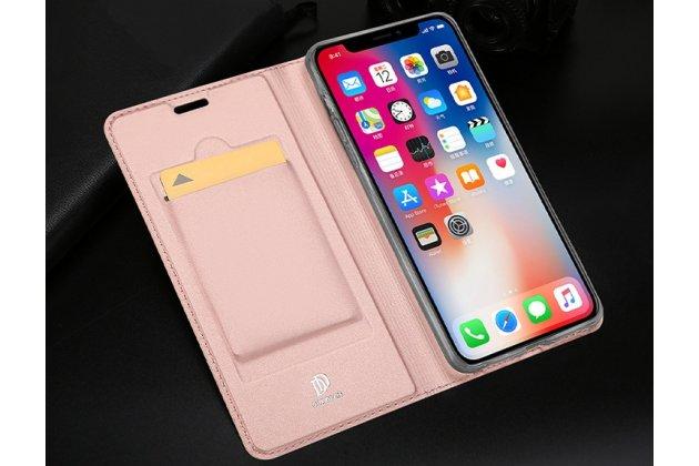 Фирменный чехол-книжка водоотталкивающий с мульти-подставкой на жёсткой металлической основе для iPhone XS Max розовое золото