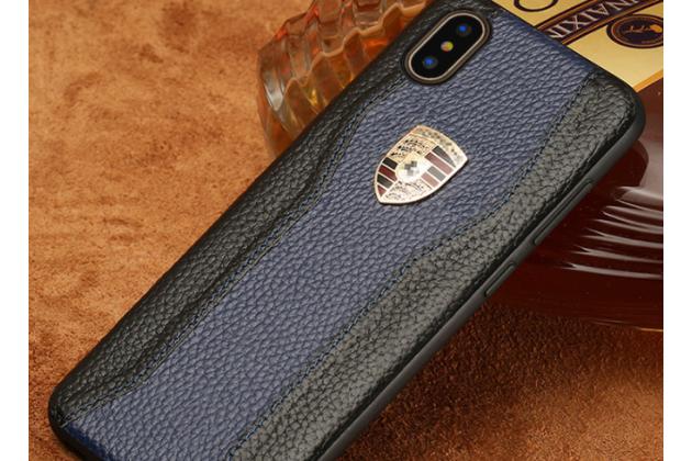 Фирменная роскошная задняя панель-крышка обтянутая импортной кожей для iPhone XS Max черно-синяя