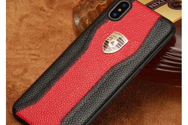 Фирменная роскошная задняя панель-крышка обтянутая импортной кожей для iPhone XS Max черно-красная