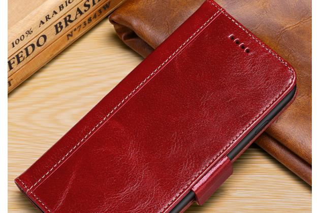 """Фирменный премиальный элитный чехол-книжка из качественной импортной кожи с мульти-подставкой и визитницей для iPhone XS Max """"Ретро"""" красный"""