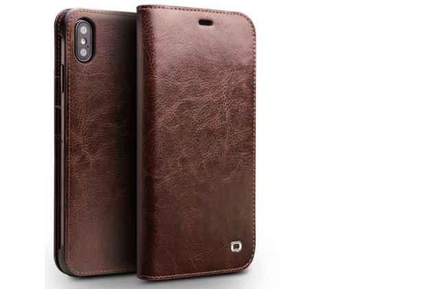 Фирменный премиальный элитный чехол-книжка из качественной импортной кожи с мульти-подставкой и визитницей для iPhone XS Max коричневый