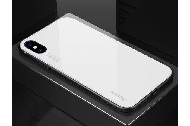 Фирменный ультра-тонкий силиконовый чехол-бампер для iPhone XS Max с закаленным стеклом на заднюю крышку телефона белый