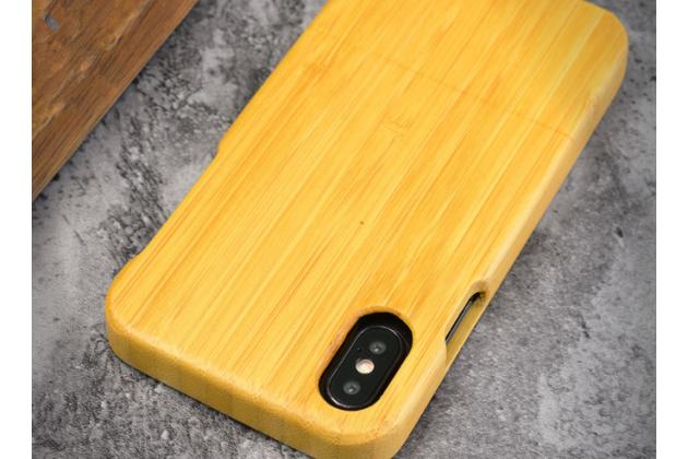 Фирменная оригинальная деревянная из натурального бамбука задняя панель-крышка-накладка для iPhone XS Max в белом цвете