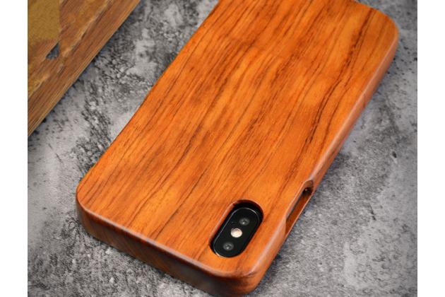 Фирменная оригинальная деревянная из натурального бамбука задняя панель-крышка-накладка для iPhone XS Max коричневая