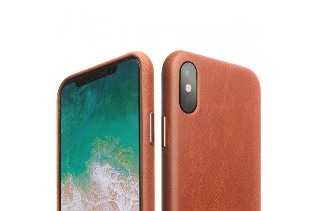 Фирменная премиальная элитная крышка-накладка из тончайшего прочного пластика и качественной импортной кожи  для iPhone XS Max  коричневая