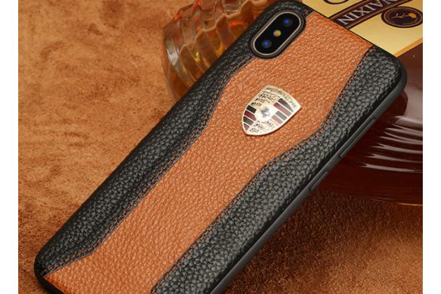 Фирменная роскошная задняя панель-крышка обтянутая импортной кожей для iPhone XS Max черно-коричневая