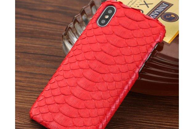 Фирменная элегантная экзотическая задняя панель-крышка с фактурной отделкой натуральной кожи змеи красного цвета для iPhone XR. Только в нашем магазине. Количество ограничено.