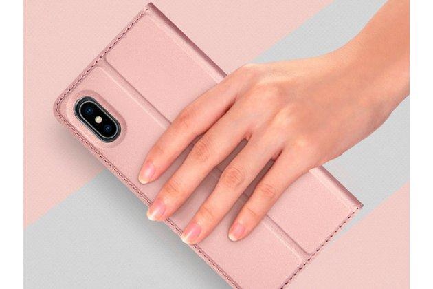Фирменный чехол-книжка водоотталкивающий с мульти-подставкой на жёсткой металлической основе для iPhone XR розовое золото