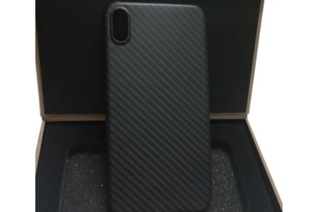 """Задняя панель-крышка из тончайшего и прочного пластика для iPhone XR с матовой отделкой """"под карбон"""" черная"""