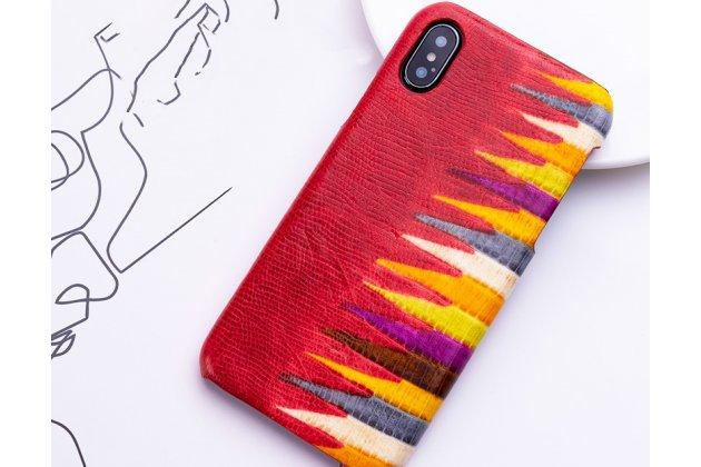 """Фирменная неповторимая экзотическая панель-крышка обтянутая кожей крокодила с фактурным тиснением для iPhone XR тематика """"Тропический Коктейль"""" красная. Только в нашем магазине. Количество ограничено."""
