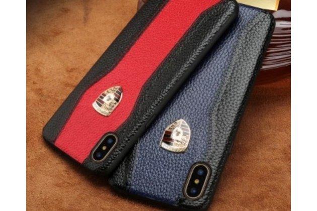 Фирменная роскошная задняя панель-крышка обтянутая импортной кожей для iPhone XR черно-красная