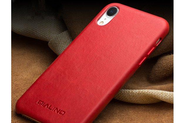 Фирменная роскошная задняя панель-крышка обтянутая импортной кожей для iPhone XR красная