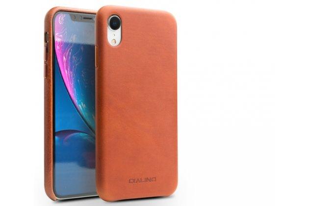 Фирменная роскошная задняя панель-крышка обтянутая импортной кожей для iPhone XR коричневая