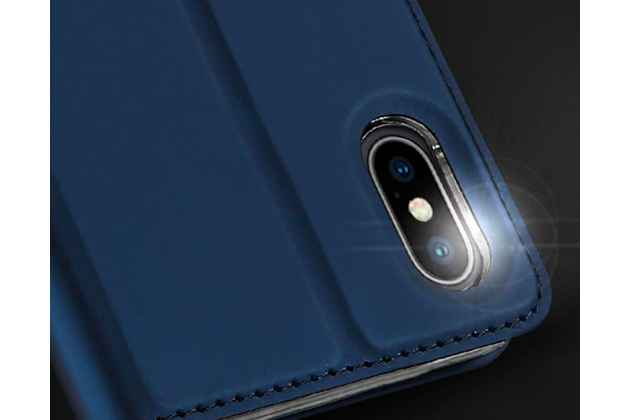 Фирменный чехол-книжка водоотталкивающий с мульти-подставкой на жёсткой металлической основе для iPhone XR  синий