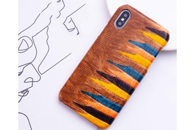 """Фирменная неповторимая экзотическая панель-крышка обтянутая кожей крокодила с фактурным тиснением для iPhone XR тематика """"Тропический Коктейль"""" коричневая. Только в нашем магазине. Количество ограничено."""