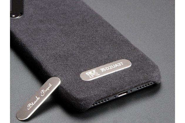 Фирменная оригинальная задняя панель-крышка-накладка из замши для iPhone XR в черном цвете