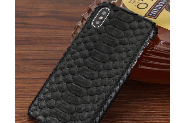 Фирменная элегантная экзотическая задняя панель-крышка с фактурной отделкой натуральной кожи змеи черного цвета для iPhone XR. Только в нашем магазине. Количество ограничено.