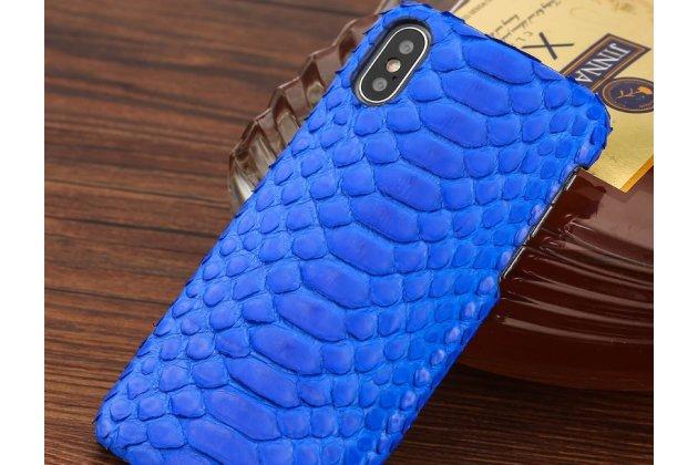 Фирменная элегантная экзотическая задняя панель-крышка с фактурной отделкой натуральной кожи змеи синего цвета для iPhone XR. Только в нашем магазине. Количество ограничено.