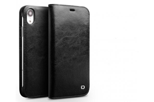 Фирменный премиальный элитный чехол-книжка из качественной импортной кожи с мульти-подставкой и визитницей для iPhone XR  черный