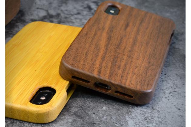 Фирменная оригинальная деревянная из натурального бамбука задняя панель-крышка-накладка для iPhone XR коричневая