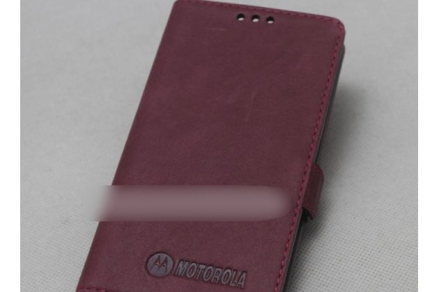Фирменный оригинальный подлинный чехол с логотипом для Motorola Moto X1  / X2 (XT1085 / XT1097) из натуральной кожи красное вино
