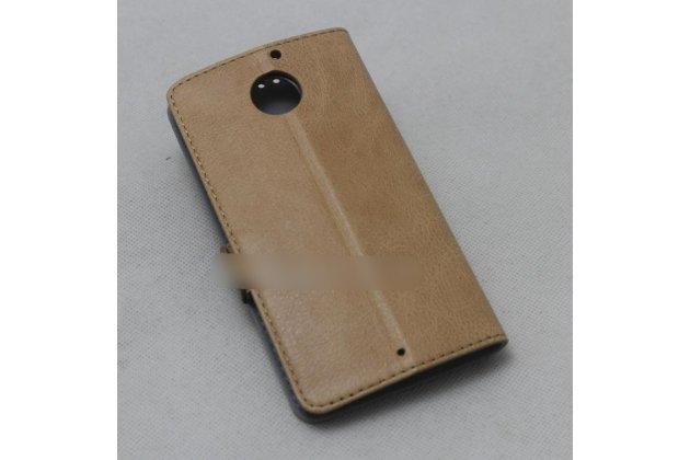 Фирменный оригинальный подлинный чехол с логотипом для Motorola Moto X1  / X2 (XT1085 / XT1097) из натуральной кожи светло-коричневый