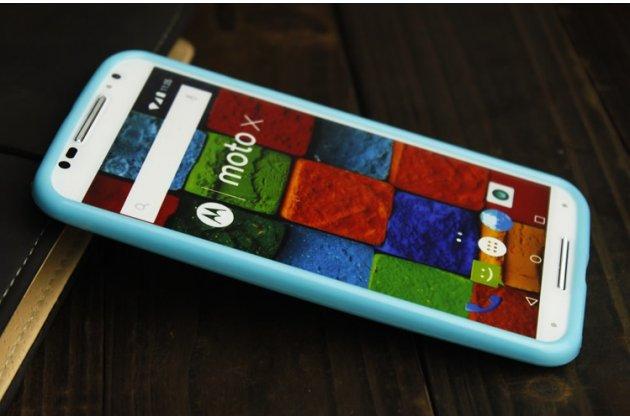 Фирменная ультра-тонкая полимерная из мягкого качественного силикона задняя панель-чехол-накладка для Motorola Moto X1  / X2 (XT1085 / XT1097) голубая