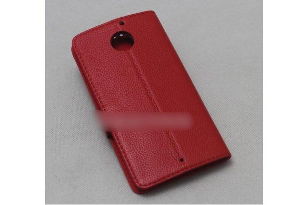 Фирменный оригинальный подлинный чехол с логотипом для Motorola Moto X1  / X2 (XT1085 / XT1097) из натуральной кожи красный