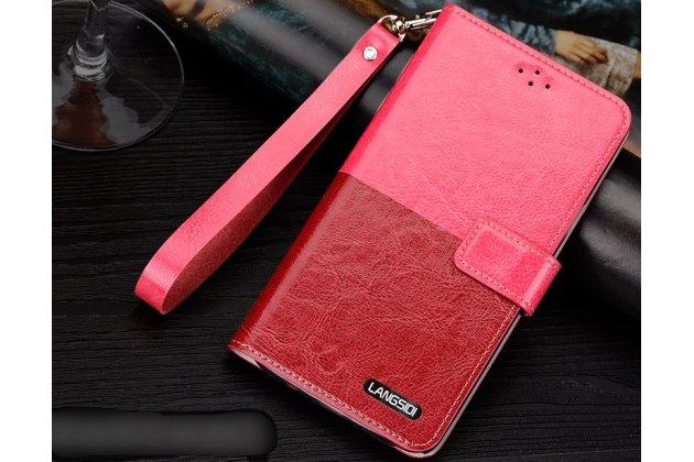 Фирменный чехол-книжка из качественной импортной кожи с подставкой застёжкой и визитницей для Motorola Moto X1  / X2 (XT1085 / XT1097) розово-красный