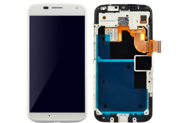 Фирменный LCD-ЖК-сенсорный дисплей-экран-стекло в сборе с тачскрином на телефон Motorola Moto X1  / X2 (XT1085 / XT1097) белый + гарантия