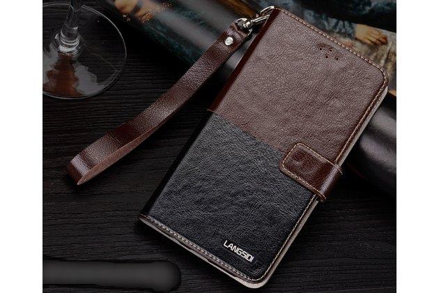 Фирменный чехол-книжка из качественной импортной кожи с подставкой застёжкой и визитницей для Motorola Moto X1  / X2 (XT1085 / XT1097) коричнево-черный