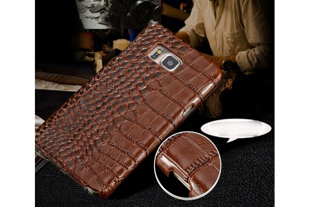Фирменная элегантная экзотическая задняя панель-крышка с фактурной отделкой натуральной кожи крокодила кофейного цвета для Motorola Moto X1  / X2 (XT1085 / XT1097) . Только в нашем магазине. Количество ограничено.