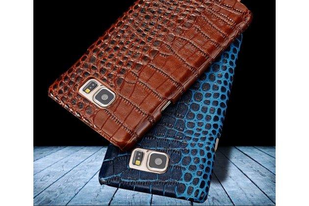 Фирменная элегантная экзотическая задняя панель-крышка с фактурной отделкой натуральной кожи крокодила синего цвета для Motorola Moto X1  / X2 (XT1085 / XT1097). Только в нашем магазине. Количество ограничено.