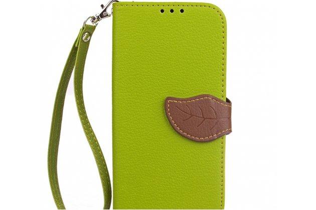 Фирменный уникальный необычный чехол-книжка для Motorola Moto X1+ / X2 (XT1085 / XT1097) зеленый с декорированной застежкой в виде листочка