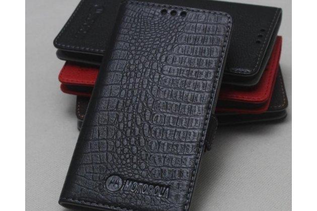 Фирменный оригинальный подлинный чехол с логотипом для Motorola Moto X1  / X2 (XT1085 / XT1097) из натуральной кожи крокодила черный