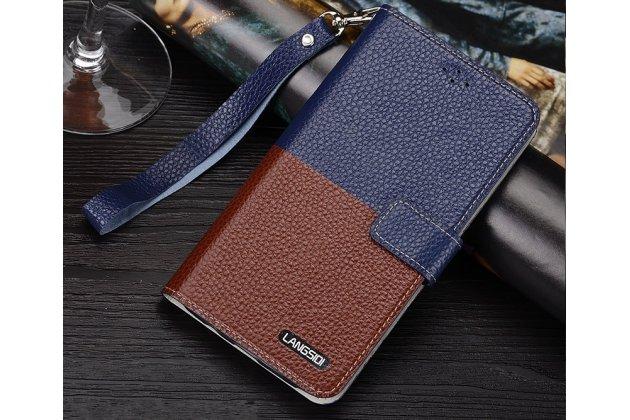 Фирменный чехол-книжка из качественной импортной кожи с подставкой застёжкой и визитницей для Motorola Moto X1  / X2 (XT1085 / XT1097) сине-коричневый